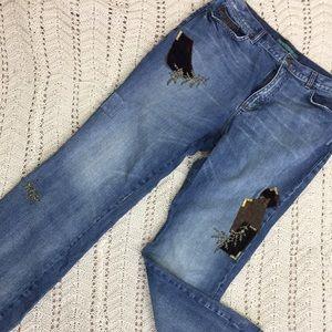 Vintage Ralph Lauren Boot Cut Patched Jeans 14